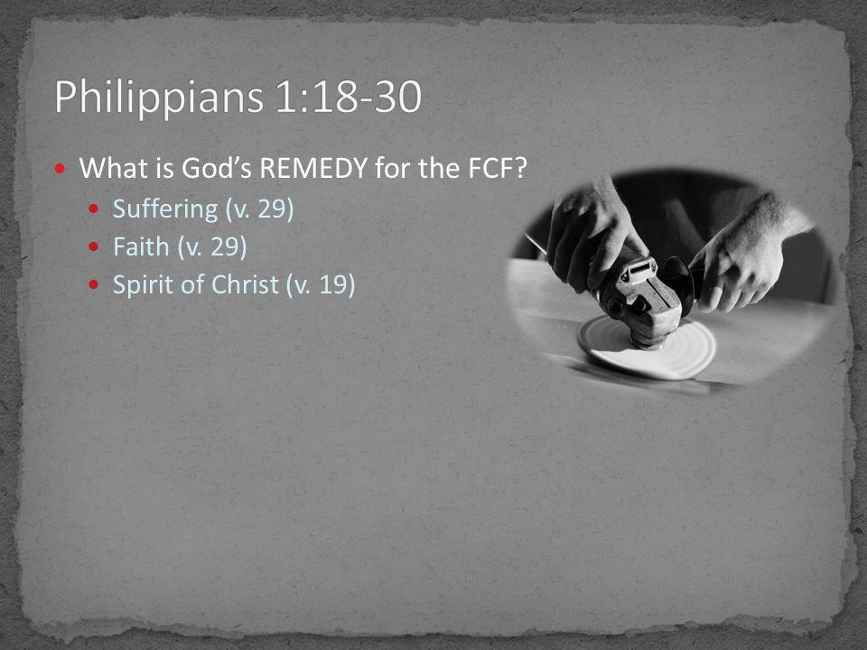 What is God's REMEDY for the FCF Suffering (v. 29) Faith (v. 29) Spirit of Christ (v. 19)