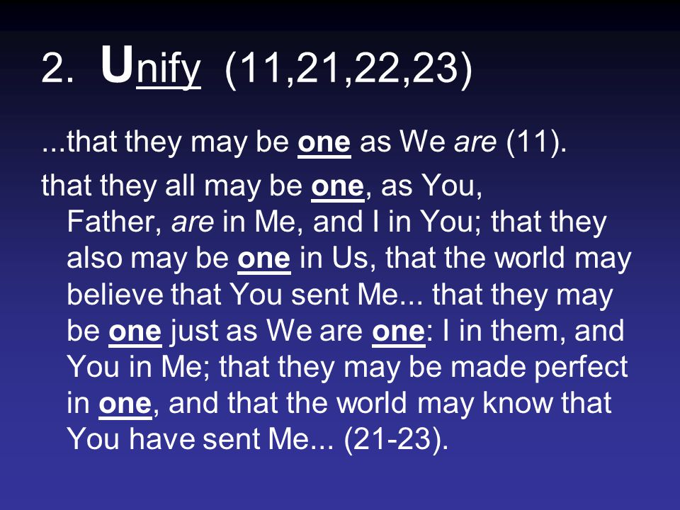 2. U nify (11,21,22,23)...that they may be one as We are (11).