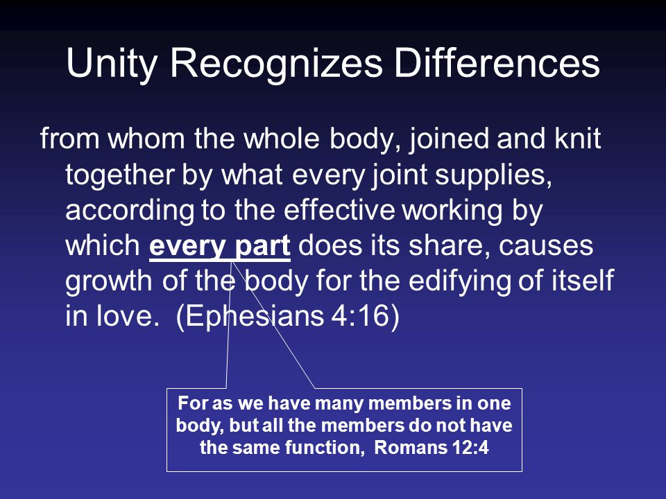Unity Recognizes Differences from whom the whole body, joined and knit together by what every joint supplies, according to the effective working by which every part does its share, causes growth of the body for the edifying of itself in love.