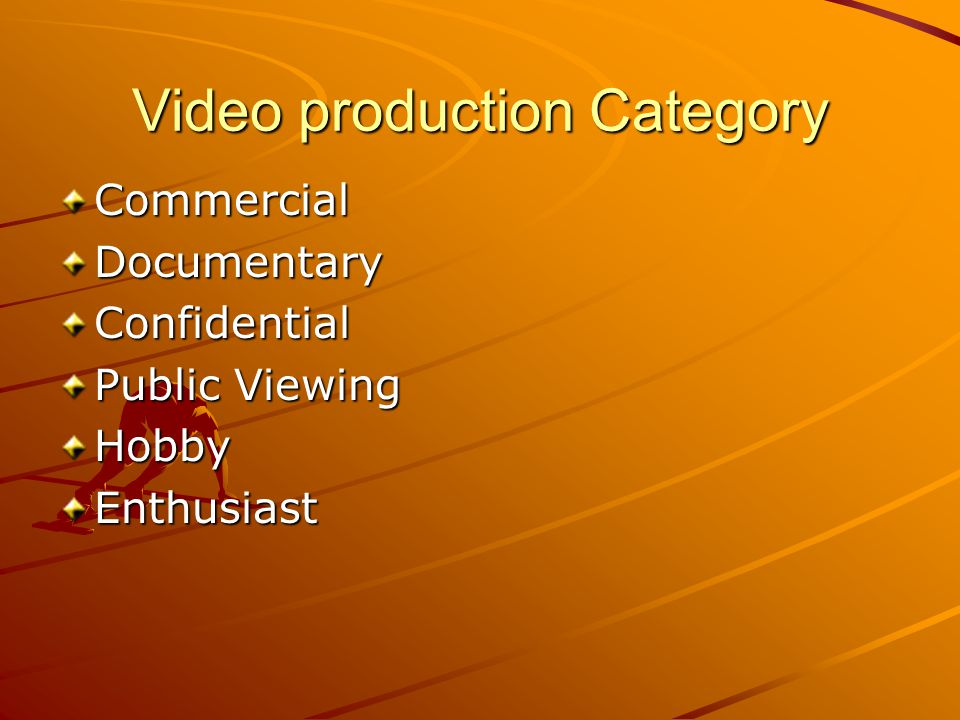 Video production Category CommercialDocumentaryConfidential Public Viewing HobbyEnthusiast