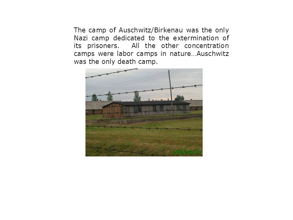 The camp of Auschwitz/Birkenau was the only Nazi camp dedicated to the extermination of its prisoners.
