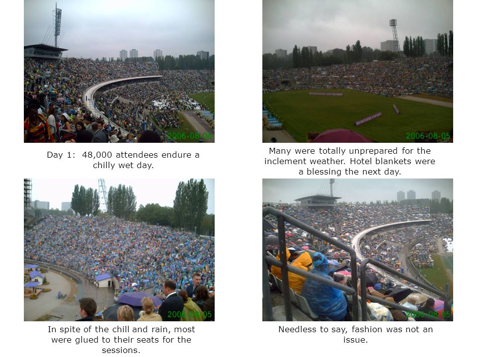 Day 1: 48,000 attendees endure a chilly wet day.
