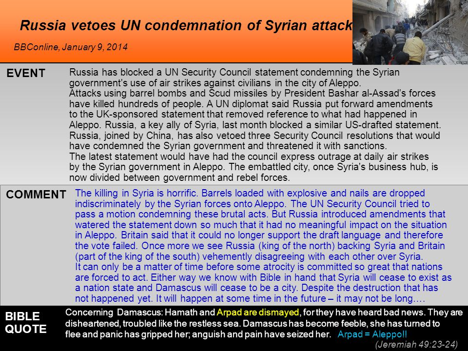 Russia has blocked a UN Security Council statement condemning the Syrian government s use of air strikes against civilians in the city of Aleppo.