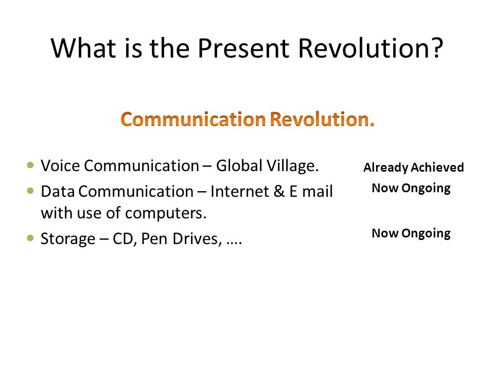 What is the Present Revolution. Voice Communication – Global Village.