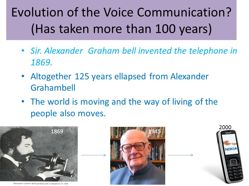 Evolution of the Voice Communication. (Has taken more than 100 years) Sir.