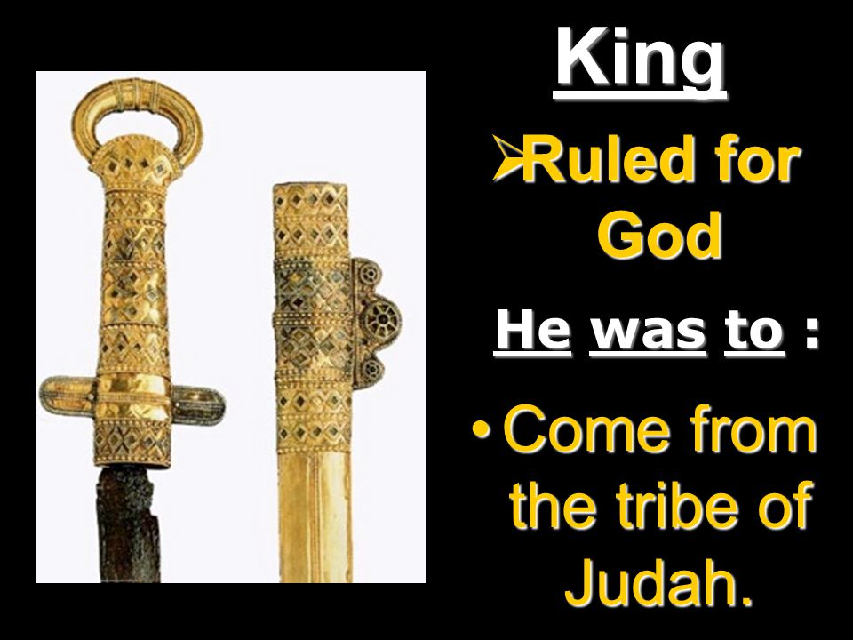 King  Ruled for God He was to : Come from the tribe of Judah.Come from the tribe of Judah.