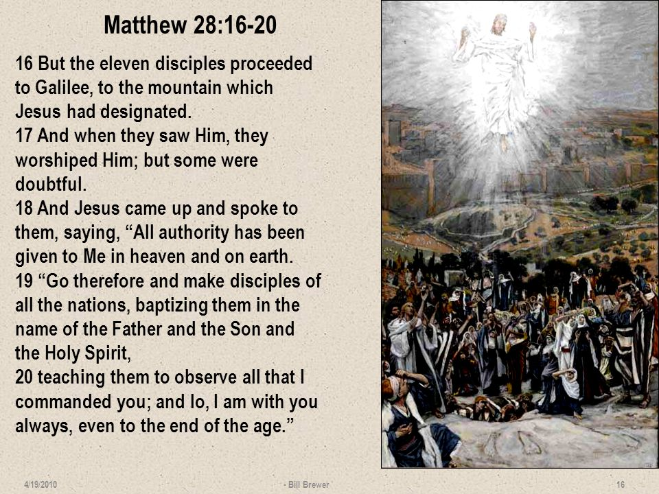 Lesson 14 Questions 1.Answer objective questions and write detailed paragraphs on … Resurrection of Christ The five baptisms in Matthew 2.Compare and contrast the Great Commission of chapter 28 with the Limited Commission of chapter 10.