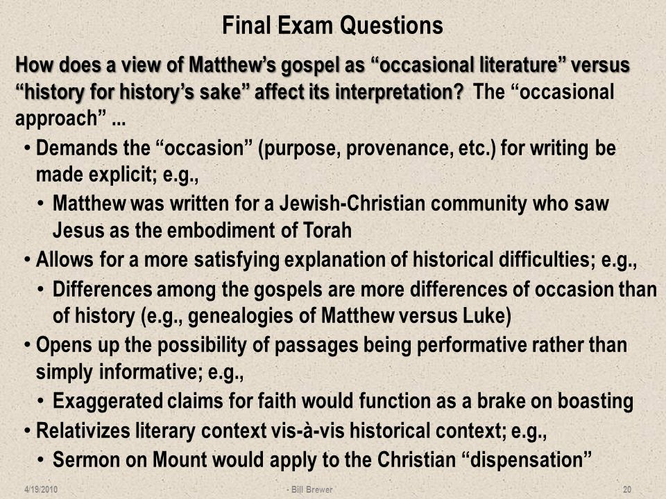 Final Exam Questions How does the notion of the church as the inbreaking of God's future rule into the present fit the gospel of Matthew.
