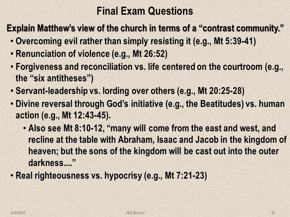 Final Exam Questions Demonstrate Matthew's special interest in Peter and offer a possible explanation.