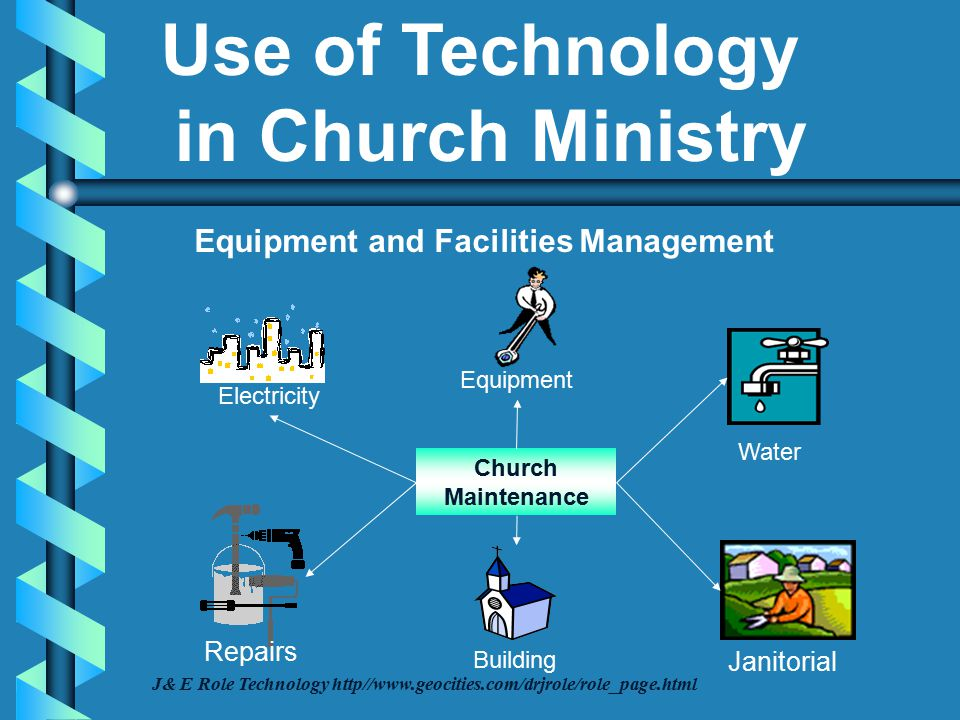 Church Maintenance Equipment and Facilities Management Building Equipment Electricity Water Repairs Janitorial J& E Role Technology http//www.geocities.com/drjrole/role_page.html Use of Technology in Church Ministry