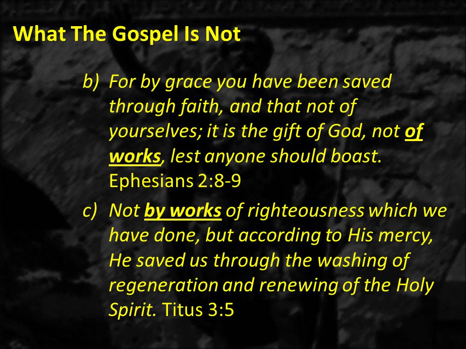 What The Gospel Is Not 1)As mentioned earlier, the Greek word repent (METANOIA) literally means change of mind or after-thought (META, change – NOIA, mind).