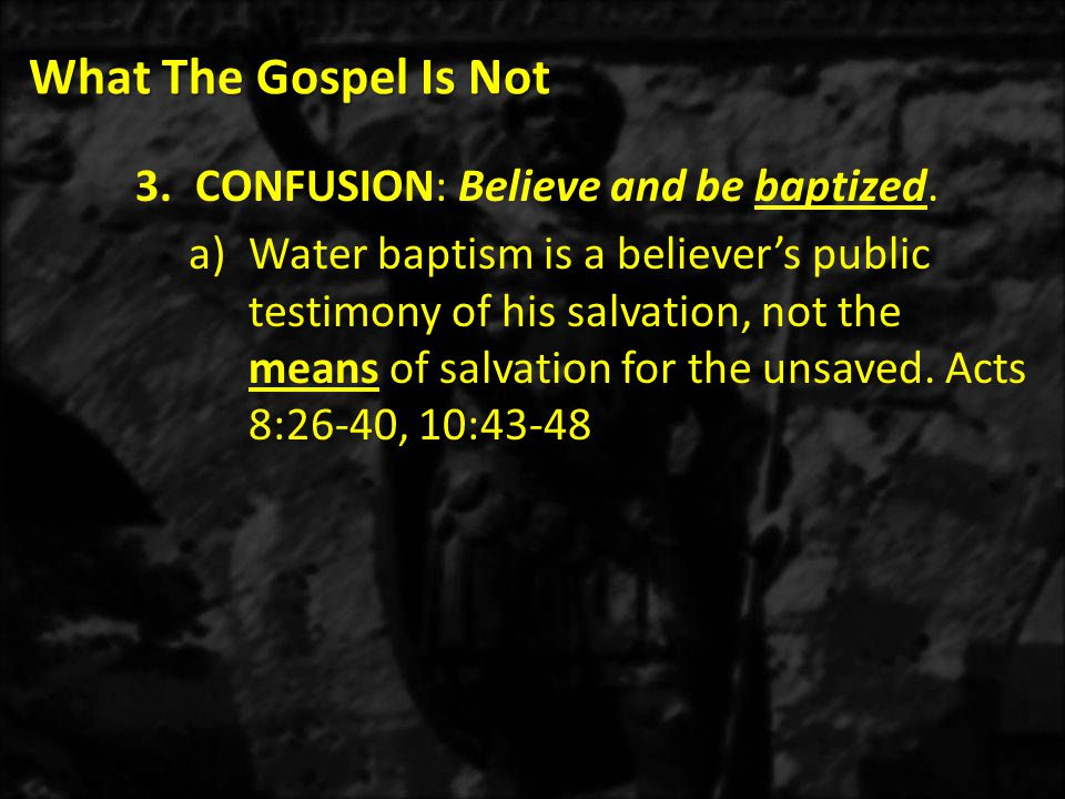 What The Gospel Is Not 3)Our modern understanding of repentance is derived from the Latin word REPOENITET, which means to be sorry again.