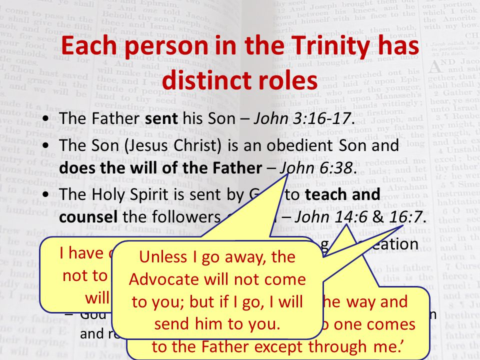 Each person in the Trinity has distinct roles The Father sent his Son – John 3:16-17.
