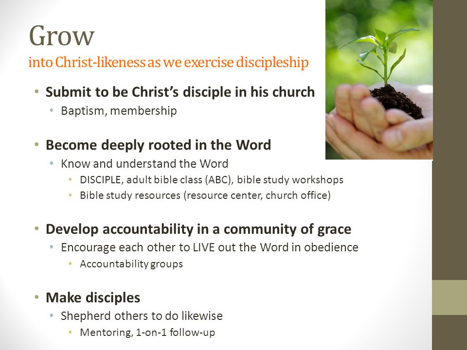 Grow into Christ-likeness as we exercise discipleship Submit to be Christ's disciple in his church Baptism, membership Become deeply rooted in the Word Know and understand the Word DISCIPLE, adult bible class (ABC), bible study workshops Bible study resources (resource center, church office) Develop accountability in a community of grace Encourage each other to LIVE out the Word in obedience Accountability groups Make disciples Shepherd others to do likewise Mentoring, 1-on-1 follow-up