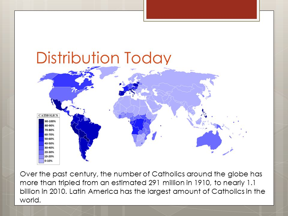 Distribution Today Over the past century, the number of Catholics around the globe has more than tripled from an estimated 291 million in 1910, to nearly 1.1 billion in 2010.