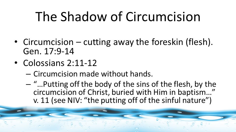 Circumcision – cutting away the foreskin (flesh). Gen.