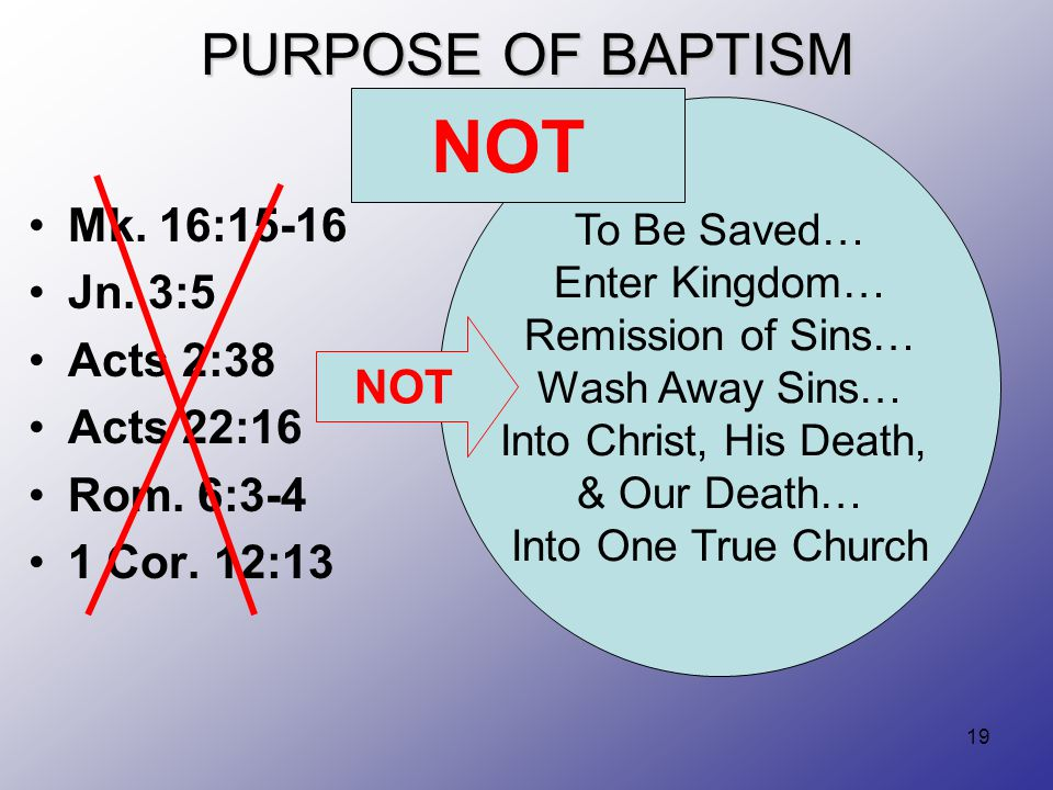 19 PURPOSE OF BAPTISM Mk. 16:15-16 Jn. 3:5 Acts 2:38 Acts 22:16 Rom.