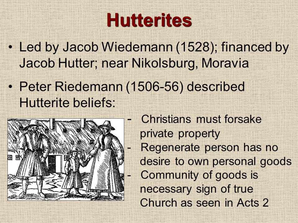 Hutterites Led by Jacob Wiedemann (1528); financed by Jacob Hutter; near Nikolsburg, Moravia Peter Riedemann (1506-56) described Hutterite beliefs: - Christians must forsake private property - Regenerate person has no desire to own personal goods - Community of goods is necessary sign of true Church as seen in Acts 2