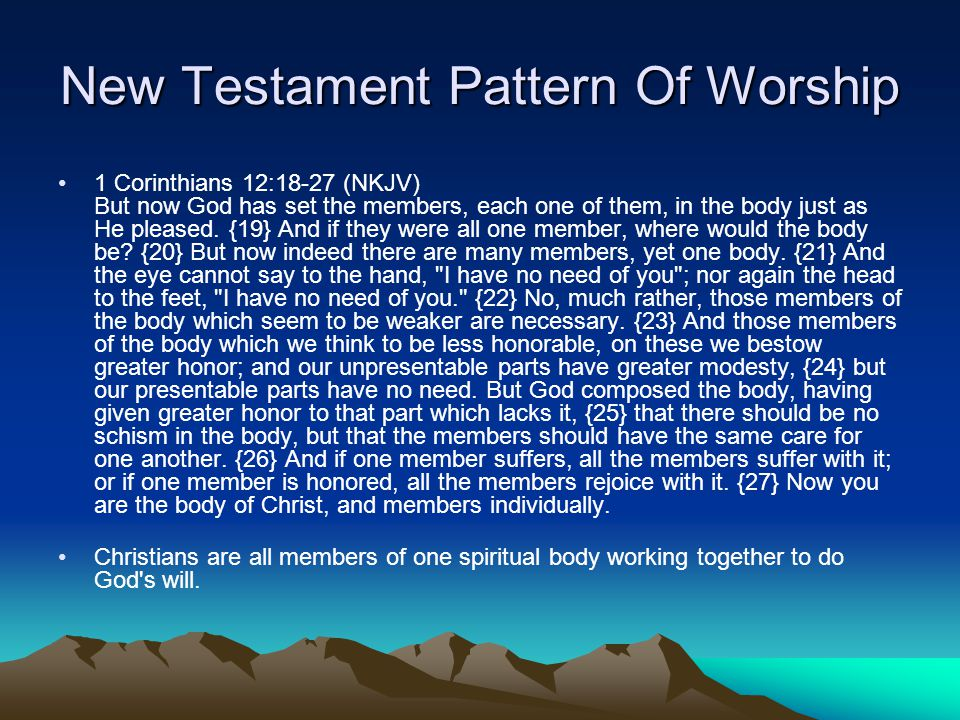 New Testament Pattern Of Worship John 4:24 (NKJV) God is Spirit, and those who worship Him must worship in spirit and truth. The only right way to worship God-------Spirit and Truth.