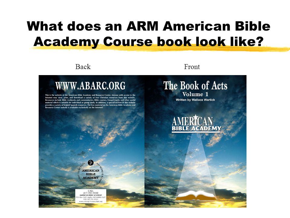 What does an ARM American Bible Academy Course book look like Back Front