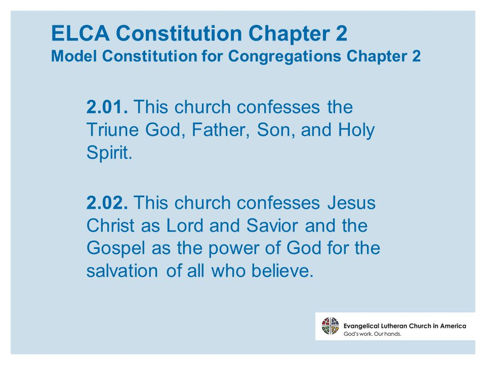 ELCA Constitution Chapter 2 Model Constitution for Congregations Chapter 2 2.01.