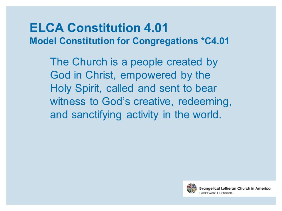 ELCA Constitution 8.12 The congregation shall include in its mission a life of worship and nurture for its members, and outreach in witness and service to its community.