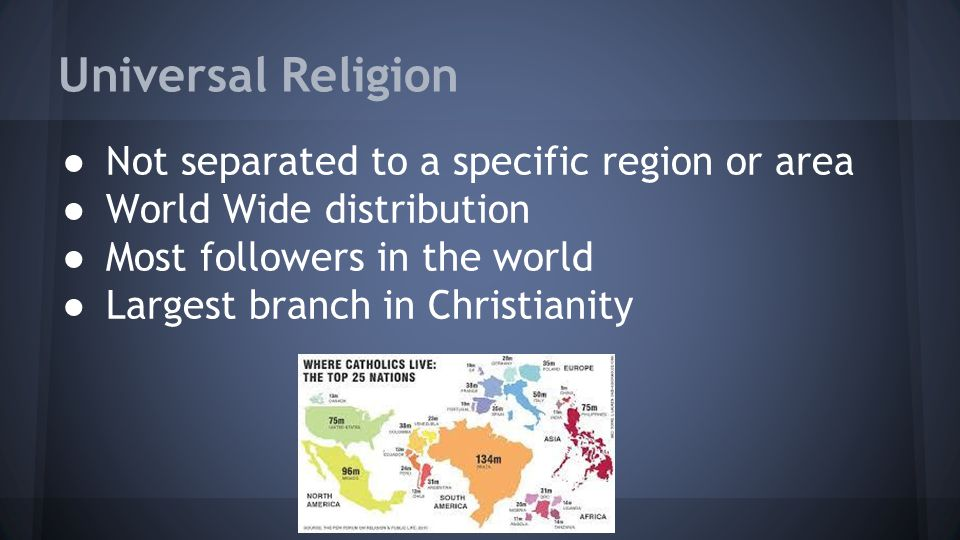 Universal Religion ● Not separated to a specific region or area ● World Wide distribution ● Most followers in the world ● Largest branch in Christianity