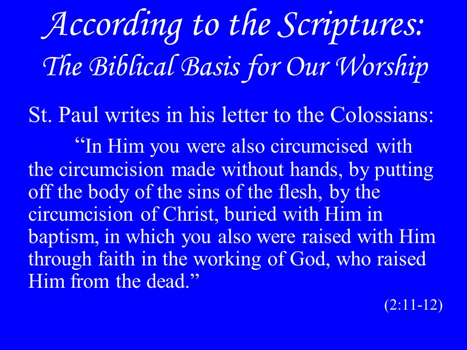 According to the Scriptures: The Biblical Basis for Our Worship St.