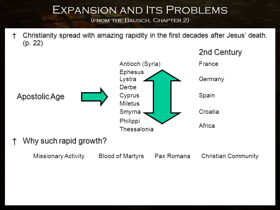 Expansion and Its Problems (from the Bausch, Chapter 2) †Christianity spread with amazing rapidity in the first decades after Jesus' death. (p. 22) Ap
