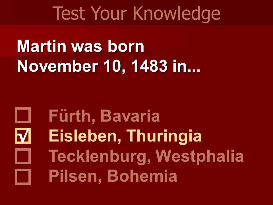 Martin was born November 10, 1483 in... Fürth, Bavaria Eisleben, Thuringia Tecklenburg, Westphalia Pilsen, Bohemia Test Your Knowledge √