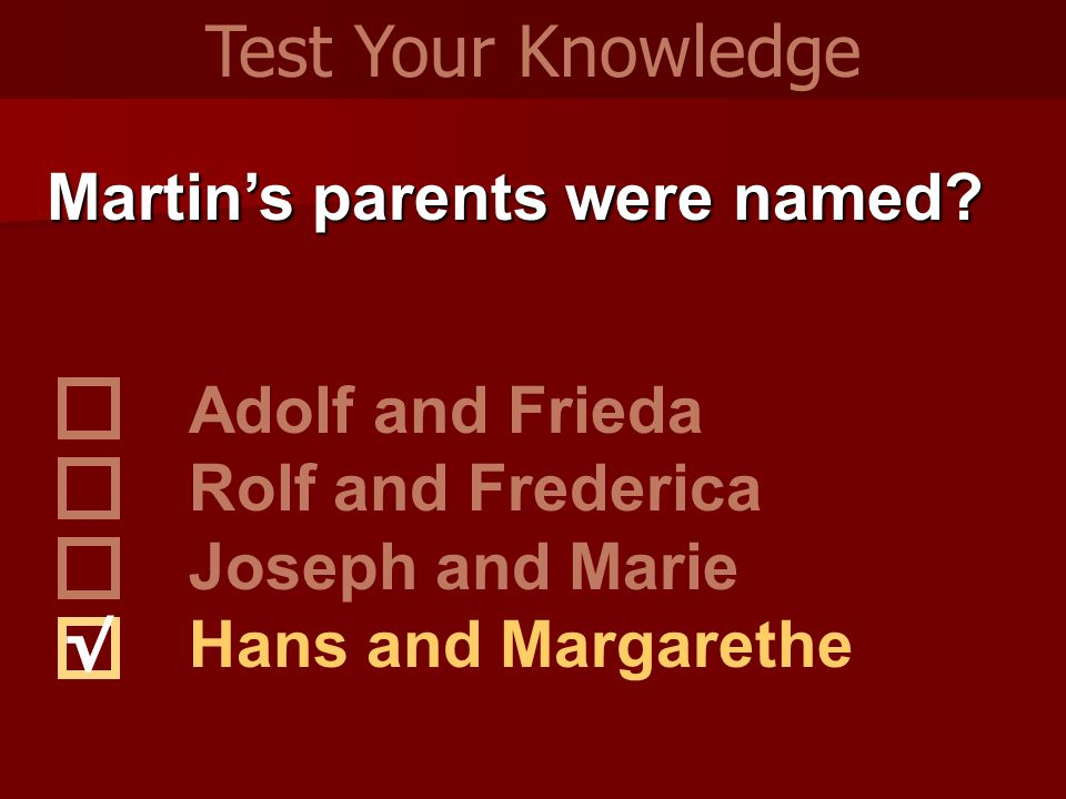 Martin's parents were named.