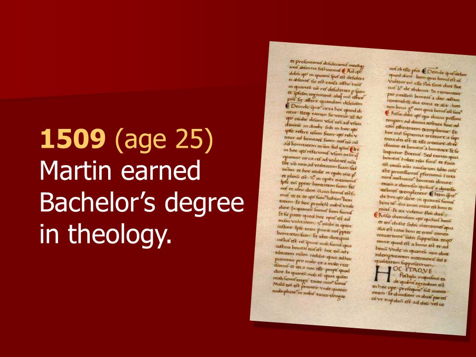 1509 (age 25) Martin earned Bachelor's degree in theology.