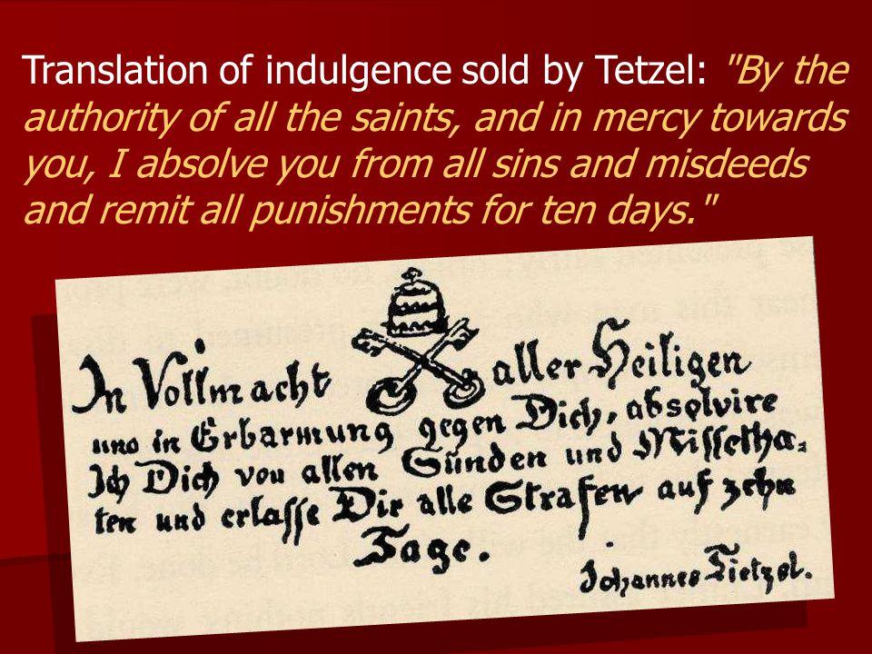 Translation of indulgence sold by Tetzel: