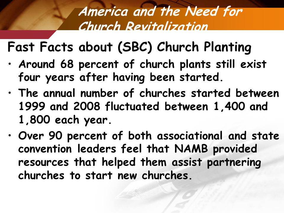 America and the Need for Church Revitalization Fast Facts about (SBC) Church Planting Around 68 percent of church plants still exist four years after having been started.