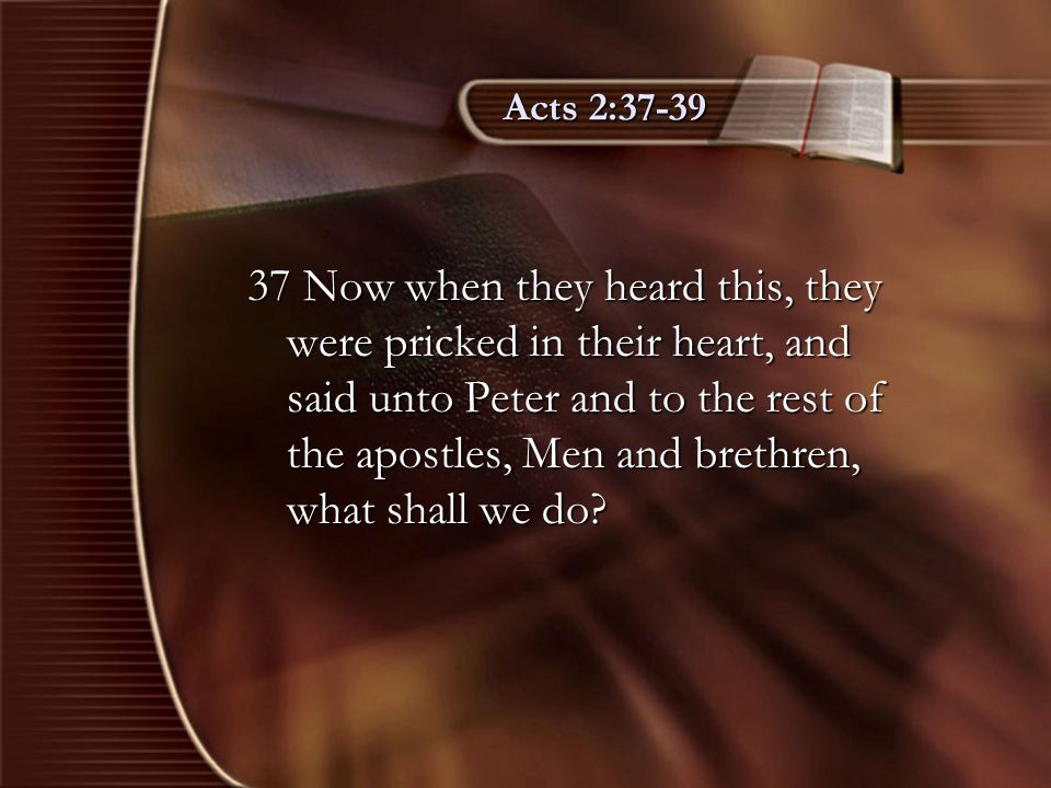 Acts 2:37-39 37 Now when they heard this, they were pricked in their heart, and said unto Peter and to the rest of the apostles, Men and brethren, wha