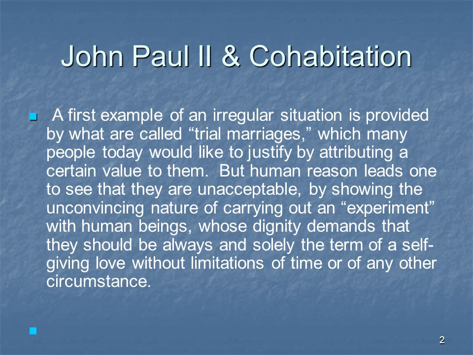 13 Harmful effects of Cohabitation A 1992 study of 3,300 cases found that couples who cohabited prior to marriage have a risk for divorce, that is about 46% higher than for non- cohabiters (Journal of Marriage and the family: February 1992).