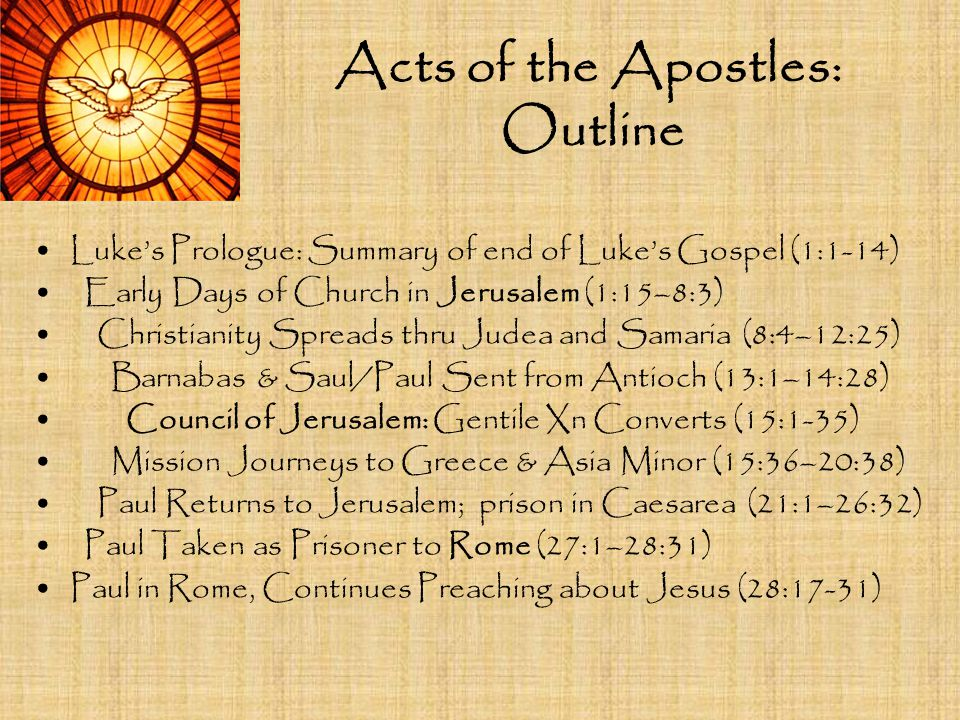 Acts of the Apostles: Outline Luke's Prologue: Summary of end of Luke's Gospel (1:1-14) Early Days of Church in Jerusalem (1:15–8:3) Christianity Spre