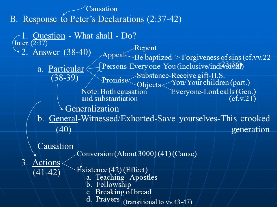 B. Response to Peter's Declarations (2:37-42) 1. Question - What shall - Do.
