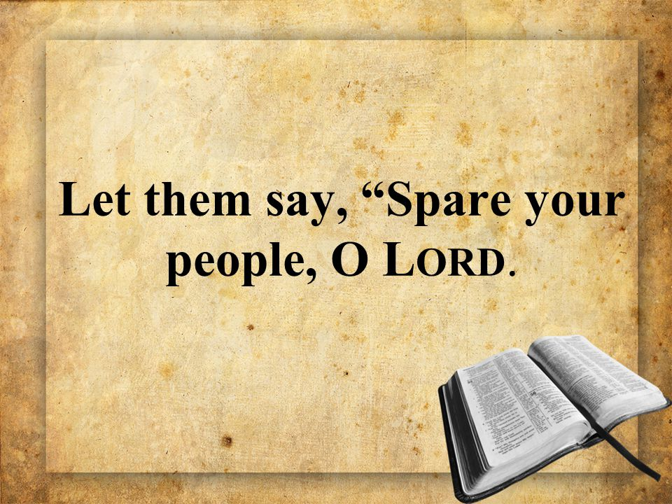 "Let them say, ""Spare your people, O L ORD."