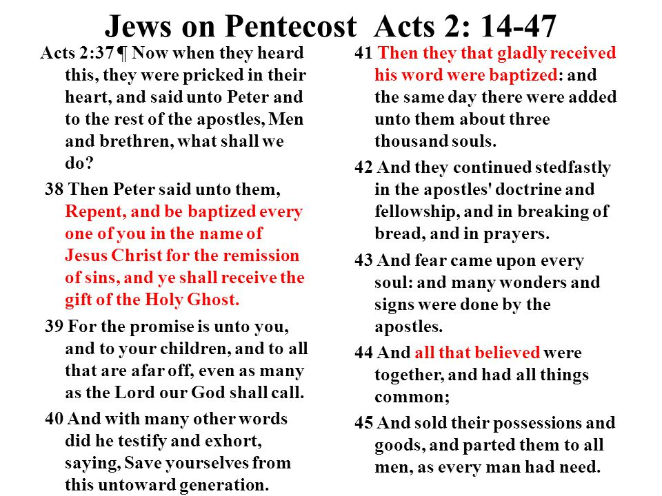 Jews on Pentecost Acts 2: 14-47 Acts 2:37 ¶ Now when they heard this, they were pricked in their heart, and said unto Peter and to the rest of the apostles, Men and brethren, what shall we do.