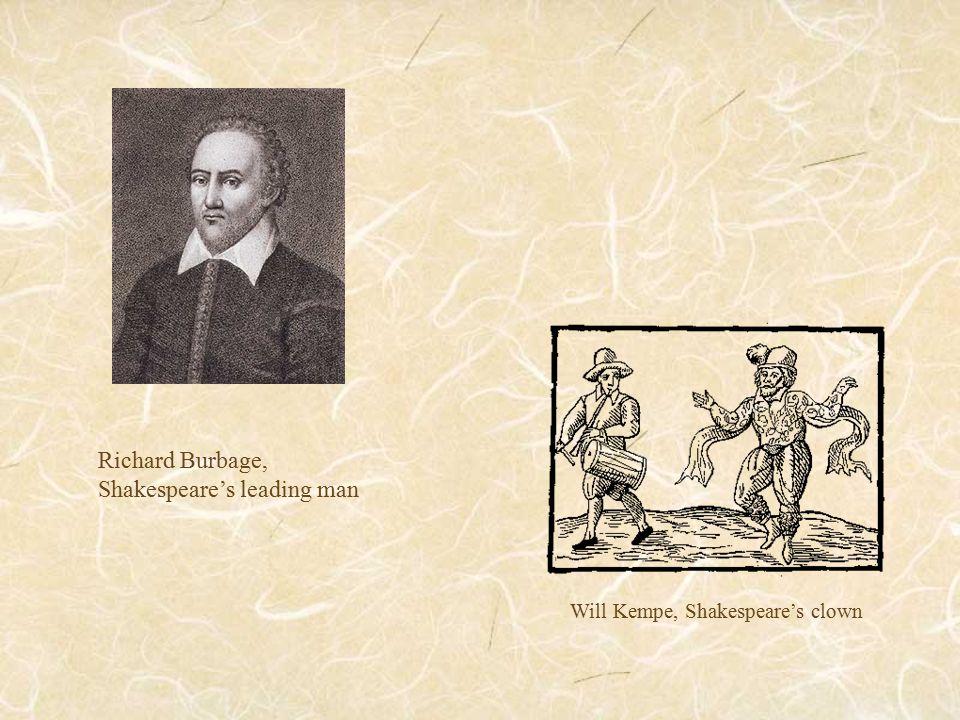 Will Kempe, Shakespeare's clown Richard Burbage, Shakespeare's leading man