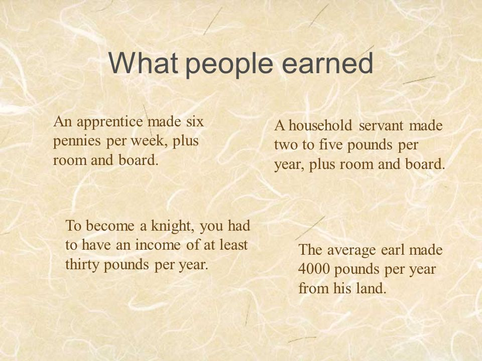 What people earned An apprentice made six pennies per week, plus room and board. A household servant made two to five pounds per year, plus room and b