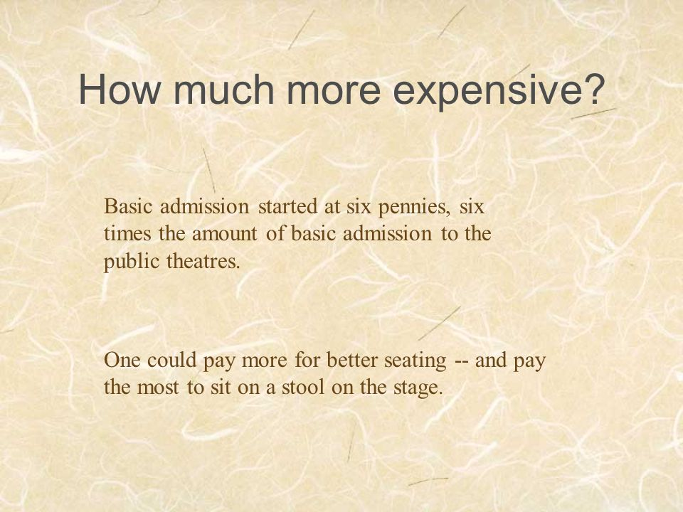 How much more expensive? Basic admission started at six pennies, six times the amount of basic admission to the public theatres. One could pay more fo