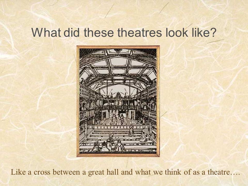 What did these theatres look like? Like a cross between a great hall and what we think of as a theatre….