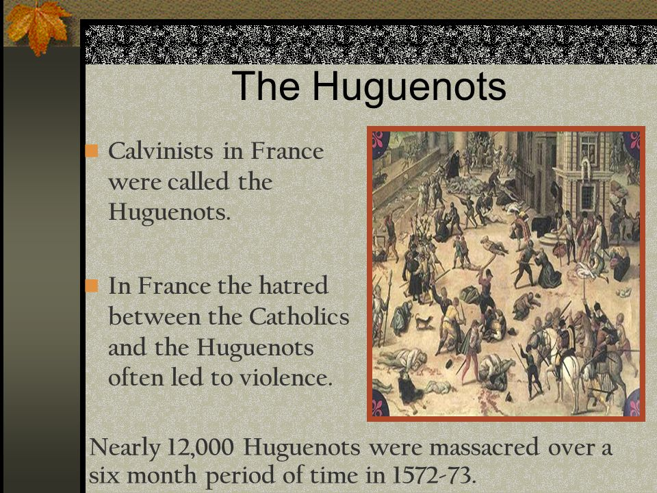 The Huguenots Calvinists in France were called the Huguenots. In France the hatred between the Catholics and the Huguenots often led to violence. Near