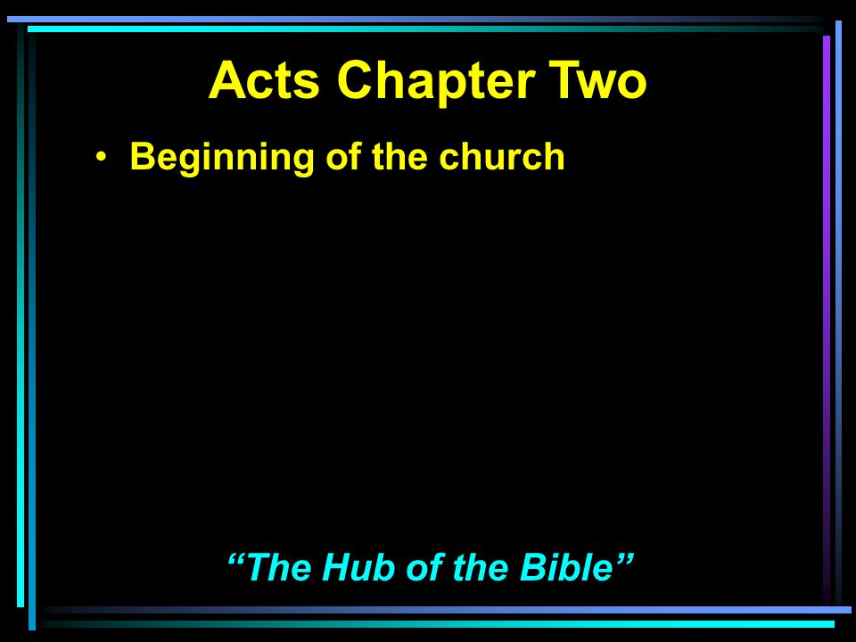Acts Chapter Two Beginning of the church Essentiality of the church The Hub of the Bible