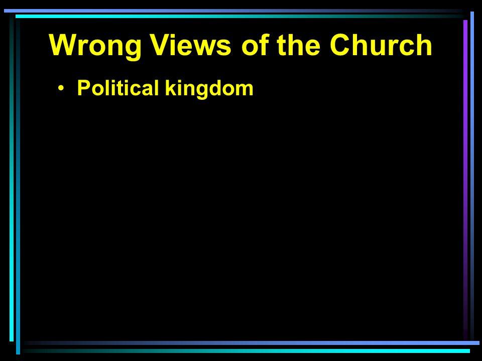 Wrong Views of the Church Political kingdom Social reform society