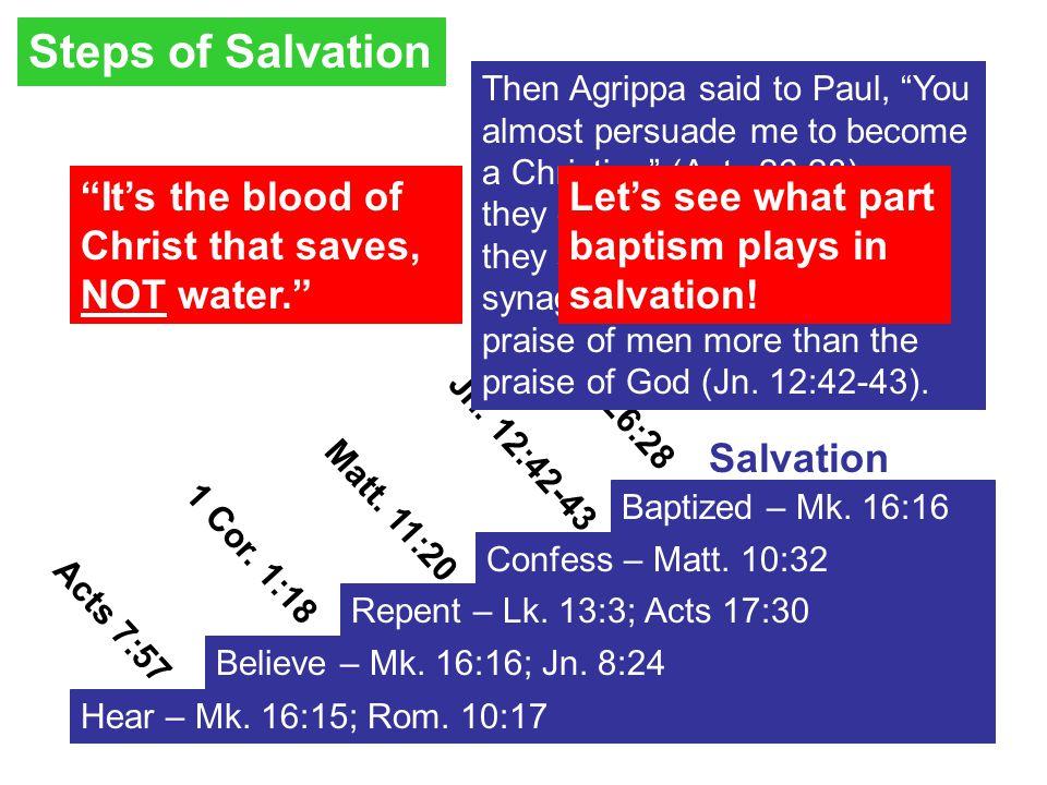 1 Cor. 1:18 Hear – Mk. 16:15; Rom. 10:17 Believe – Mk.