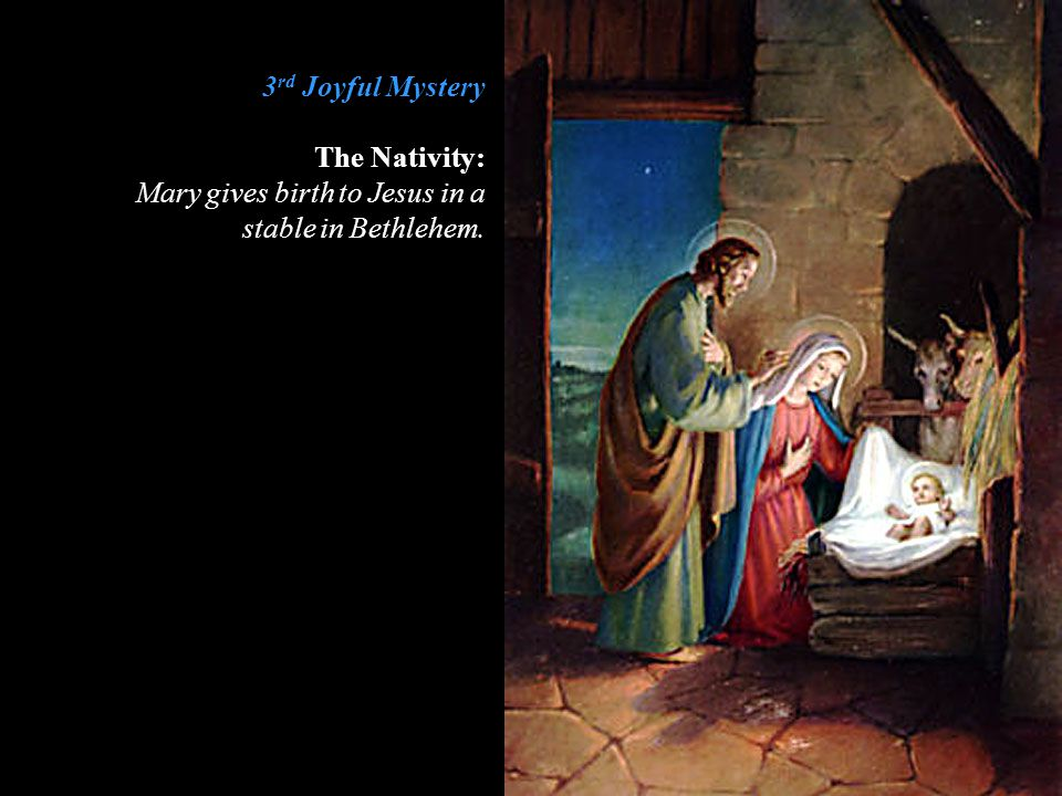 3 rd Glorious Mystery The Descent of the Holy Spirit: The Holy Spirit comes to the apostles and the Blessed Mother.