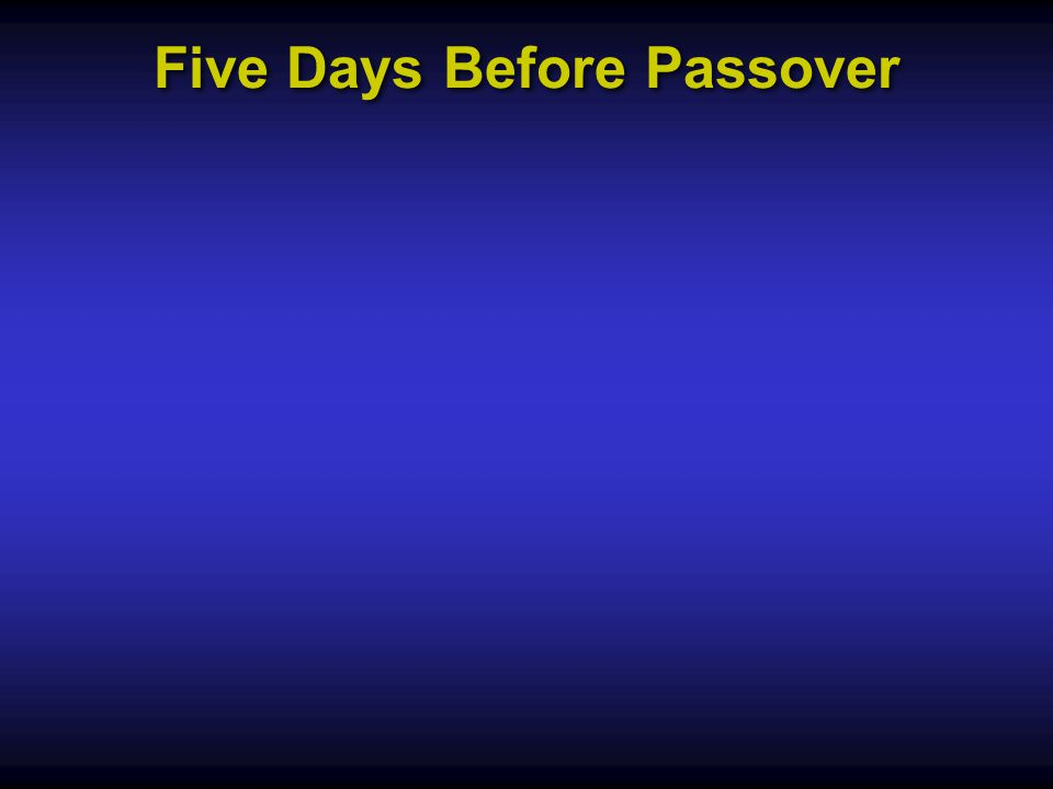 Five Days Before Passover